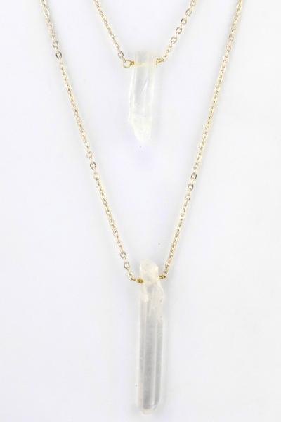 Double layered stone pendant necklace