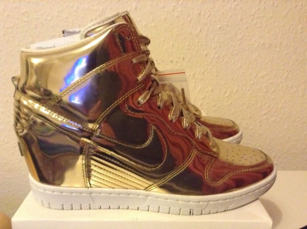 RARE LIMITED EDITION Nike Sky Hi Dunk Liquid Gold WOMENS UK 5.5, 6.5, 7.5, 7, 8 | eBay