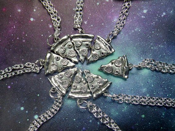 One Deluxe Pizza Slice Necklace BUY 7 SLICES get 1 by lotusfairy