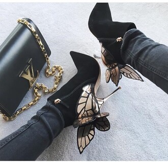 shoes girl girly girly wishlist heels suede black butterfly dope dope wishlist high heels louis vuitton