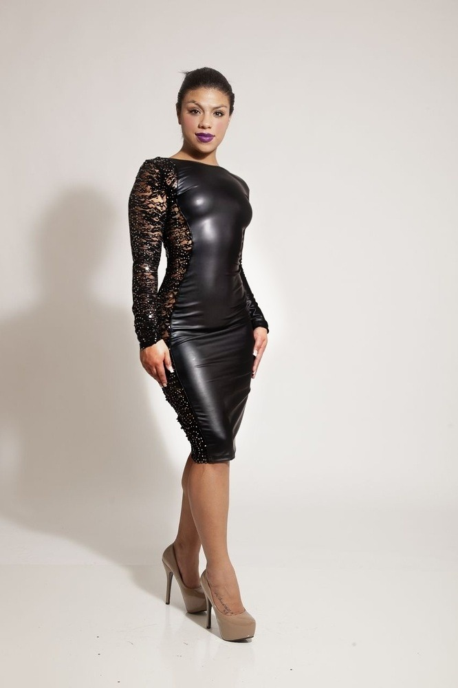 AMAZE - ME FAUX LEATHER DRESS WITH SEQUIN SIDE  / Sarah's Boutique