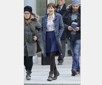 coat fifty shades of grey dakota johnson duffle coat blue skirt floral shirt black boots