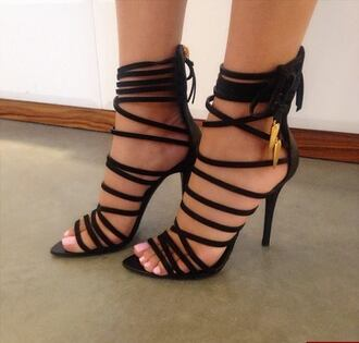 shoes strappy heels black high heels chic fashionista vogue