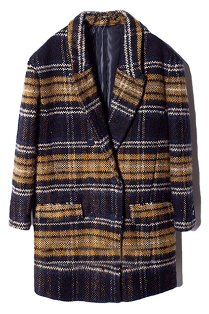 ROMWE | ROMWE Retro Check Lapels Buttoned Pocketed Coat, The Latest Street Fashion