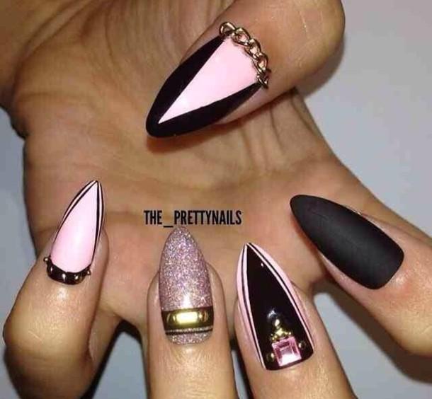 nail polish nails black matte pink wheretoget