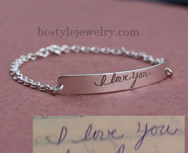 Jewels Engraved Handwriting Bar Bracelet Silver Jewelry