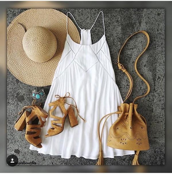 dress shoes bag hat white dress summer dress outfit