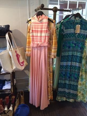dress vintage pink white halter neck maxi sleeveless aztec