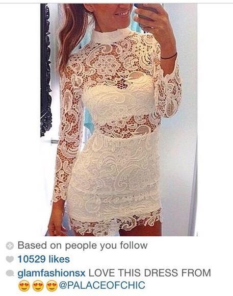 lace dress homecoming dress prom dress white dress high neck line turtleneck spring dress