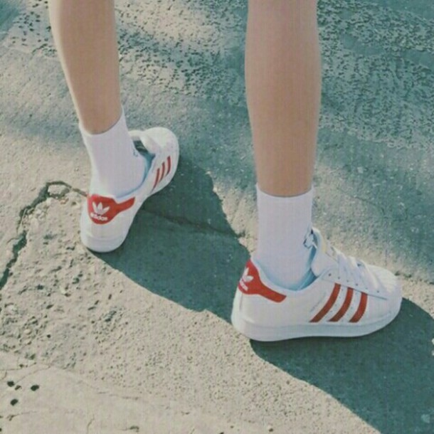 shoes red adidas white superstar sneakers sporty