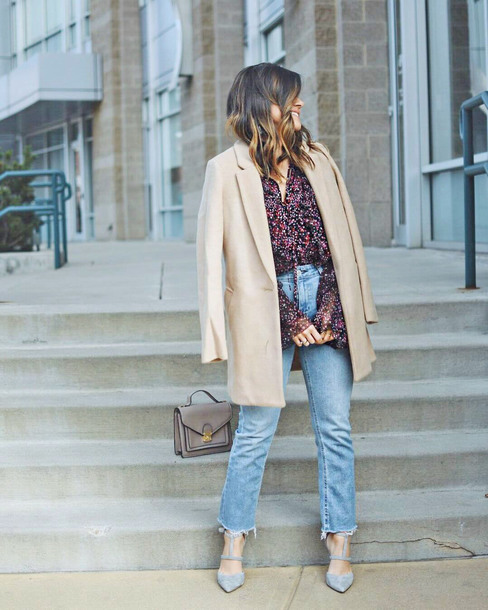 coat tumblr camel camel coat shirt denim jeans blue jeans cropped jeans shoes grey shoes high heels heels bag