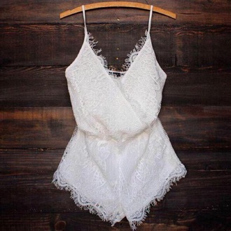 romper white lace white romper jumpsuit jumper frill dress white lace playsuit tumblr outfit white dress lace romper white lace romper shorts top white lace jumpsuit cute laces sweet short lace up lace top style