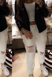 pants,white,cut-out,white pants,sweatpants