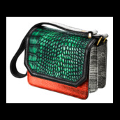 bag,green,orange,grey,crocodile,snake print