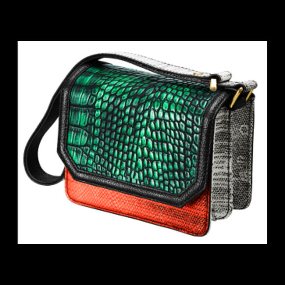 orange bag bag satchel green bag multicolored green orange grey snake multi-colored multi multicolor
