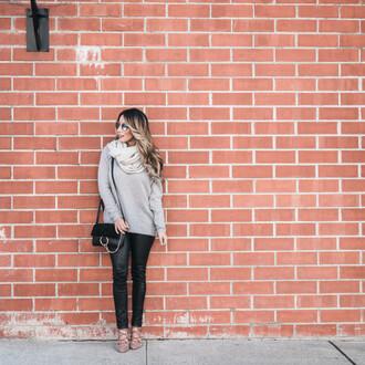 fashionborn blogger sweater scarf pants bag shoes sunglasses