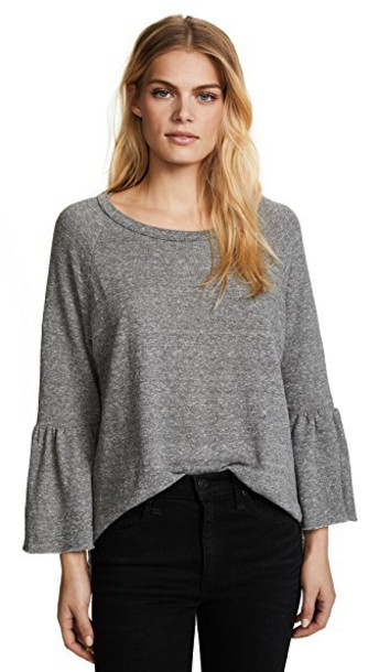 Current/Elliott sweatshirt ruffle baby grey heather grey sweater