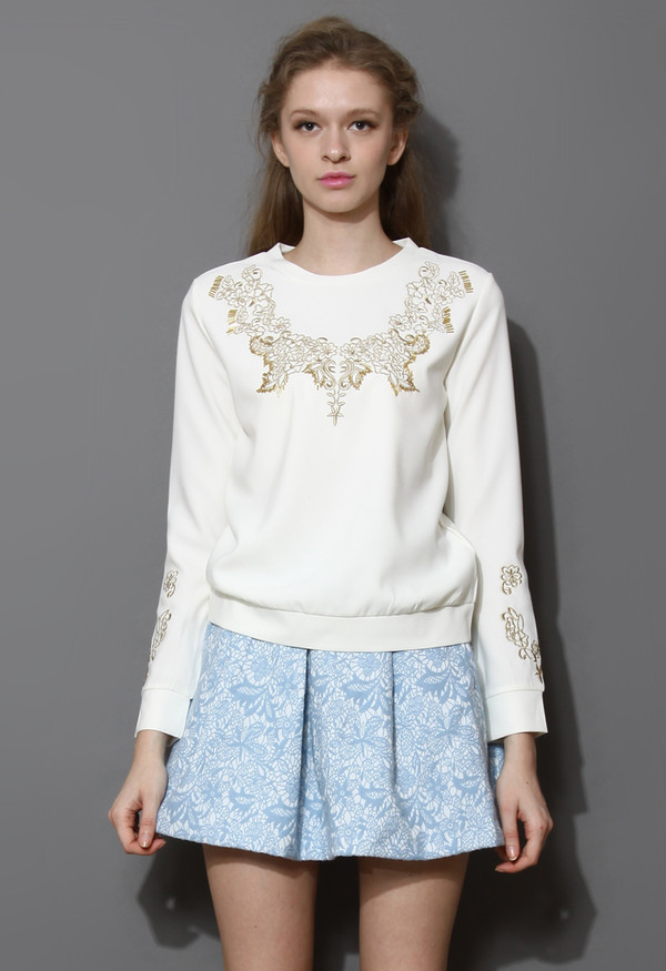 sweater gold embroidered floral sweat top skirt
