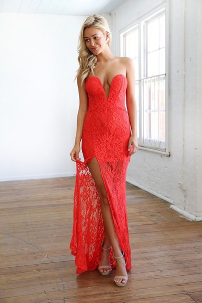 9b0705920bbb red maxi dress maxi dress lace maxi strapless maxi plunging neckline dress  red lace asymmetrical hem
