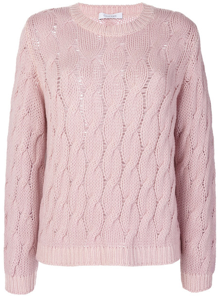 Cruciani - cable knit sweater - women - Cashmere - 46, Pink/Purple, Cashmere
