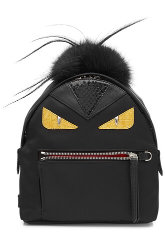 fur fox backpack black bag