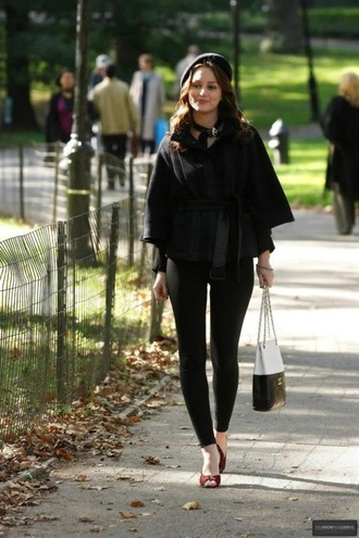 coat black blair waldorf new york city gossip girl