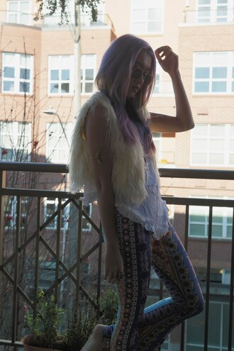 stardust bohemian blogger boho printed pants faux fur vest bell bottoms