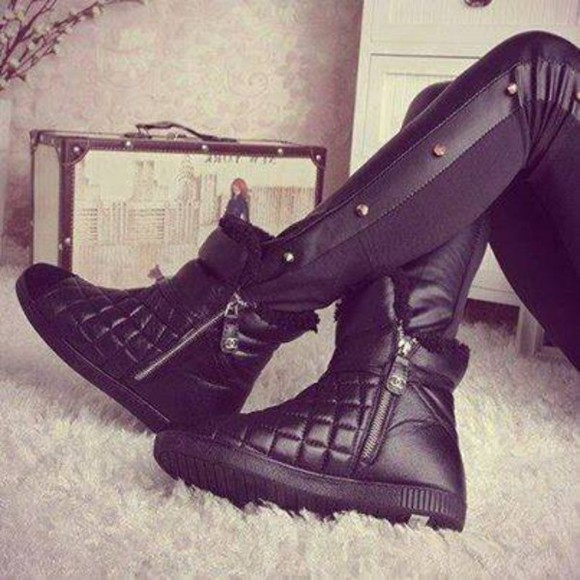 shoes wedge sneakers quited zipped