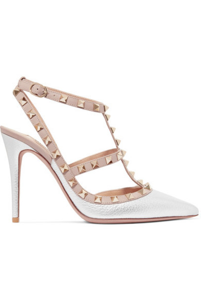 Valentino metallic pumps silver leather shoes