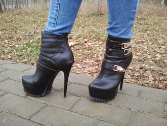 shoes black booties booties leather booties ankle boots black leather ankle boots black ankle boots high heel booties gold buckle leather black boots