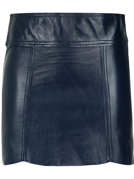 skirt mini skirt mini women leather blue
