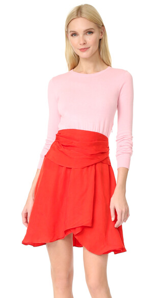 dress long sleeve dress long pink red
