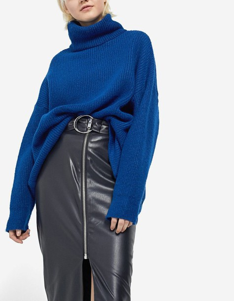 Stradivarius skirt pencil skirt leather pencil skirt zip leather black