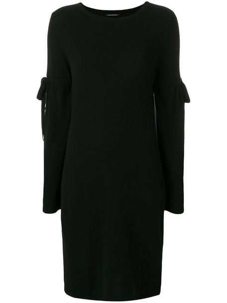 dress knitted dress women black silk wool