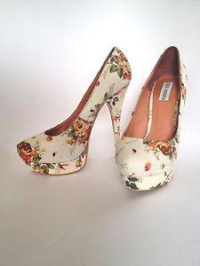 Steve Madden Karmenaf Beige Floral Platform Pumps Size 9 5 Stiletto Heel | eBay