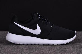 black white nike roshe run nike authentics shorts shoes nike black and white shoes low top sneakers black sneakers roshe runs nike shoes