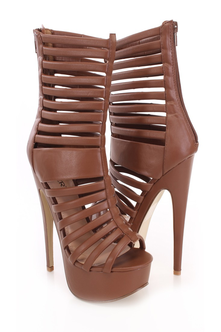 Light Brown Strappy Peep Toe Platfom Booties Faux Leather