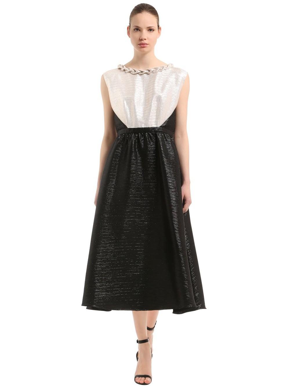 INGIE Two Tone Lamé Midi Dress in black / white