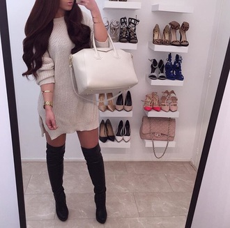 fall dress sweater dress fall outfits white bag knee high boots