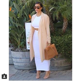 dope white skirt white crop tops kim kardashian dress
