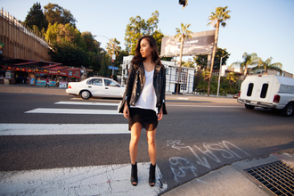 fashiontoast blogger black skirt peep toe boots white t-shirt leather jacket