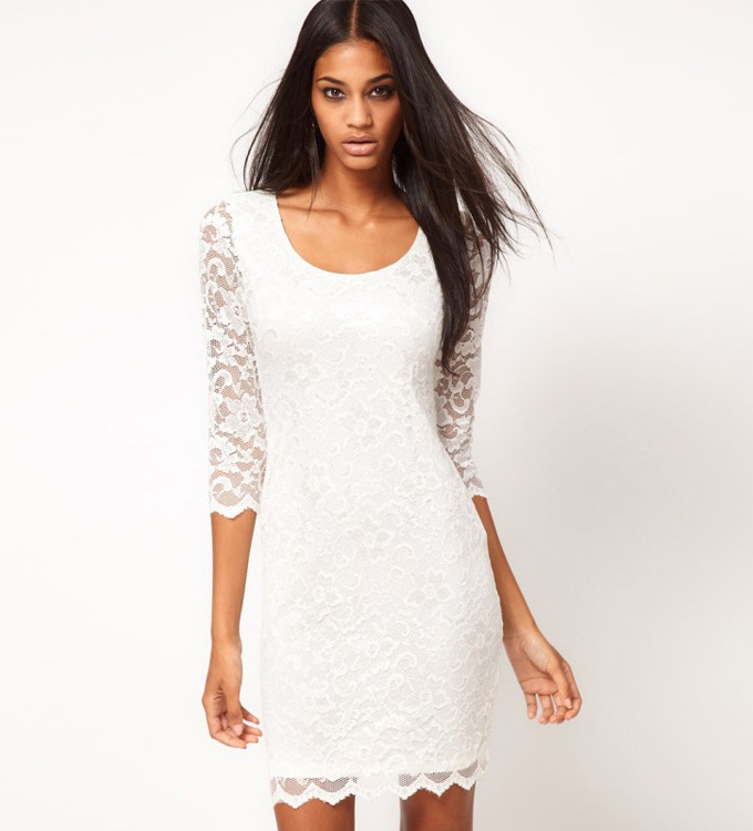 Round Neck White Lace Dress   Party Dresses 68d2de5a0f