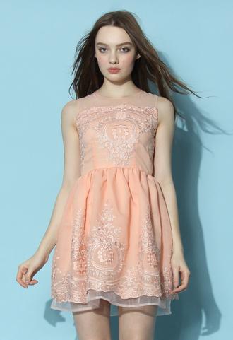 dress chicwish chicwish.com embroidered dress peach dress