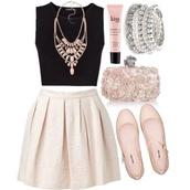 skirt,beautiful,nice,classy,romantic,pearl,black,jewelry,diamonds,cream,jewels