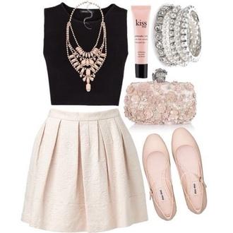 skirt beautiful nice classy romantic pearl black jewelry diamonds cream jewels