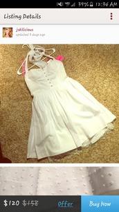 dress,white,white dress,lace,lace bottom,haulter top dress,white short dress,short dress