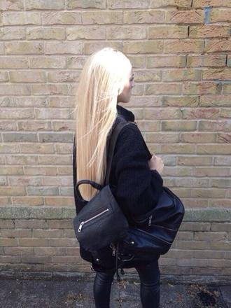 bag black black bag black leather knapsack backpack bookbag cool couture urban streetwear model model fashion grunge dope