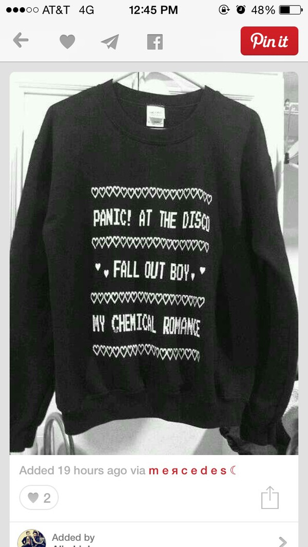 sweater black cute sweaters panic! at the disco my chemical romance fall out boy winter sweater panicatthedisco panic!