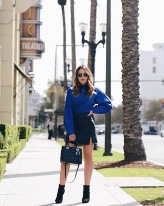 skirt tumblr mini skirt tartan tartan skirt boots black boots ankle boots sweater blue sweater bag sunglasses