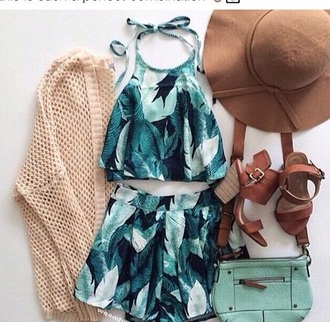 jumpsuit green dress patterned dress patterned skirt floral pattern leaf print summer dress summer shorts summer shirt matching skirt and top mint green skirt halter neck halter crop top summer outfits romper shoes top short and top rainforest dress shorts green two-piece tropical pattern